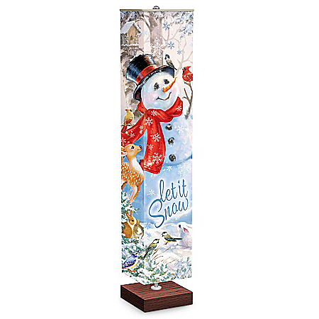 Dona Gelsinger Let It Snow Snowman Floor Lamp With Foot Pedal Switch