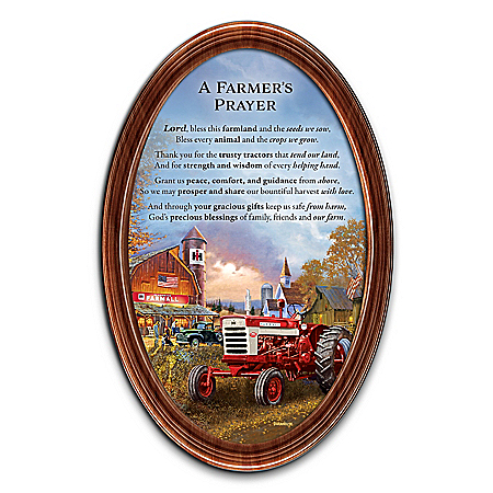 A Farmer's Prayer Farmall Oval-Shaped Framed Collector Plate