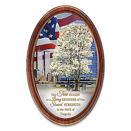 9/11 Survivor Tree Patriotic Framed Oval Collector Plate