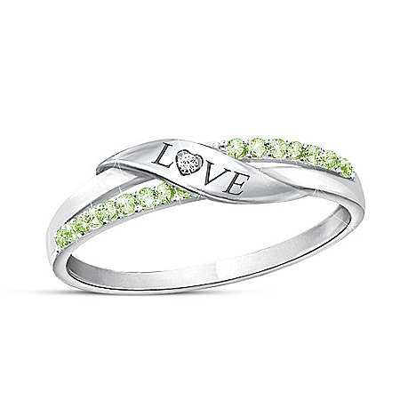 Love Women's Personalized Crystal Birthstone And Diamond Ring - Personalized Jewelry