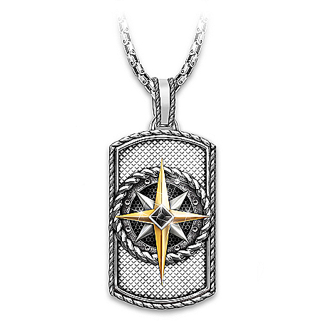 Compass Of Faith Dog Tag Pendant Necklace For Son