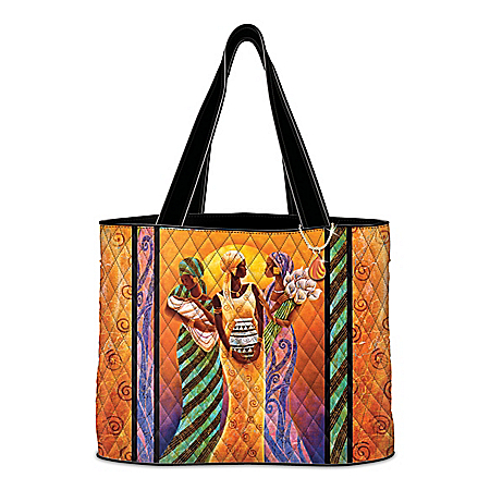 Sisters Of The Sun Quilted Tote Bag With Keith Mallett Art