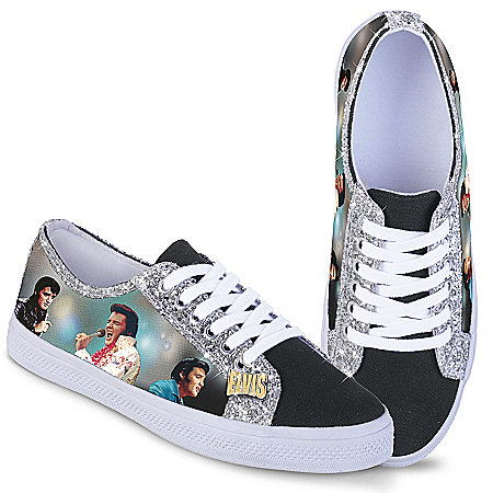 Elvis Women's Canvas Sneakers With Elvis Imagery And Glitter