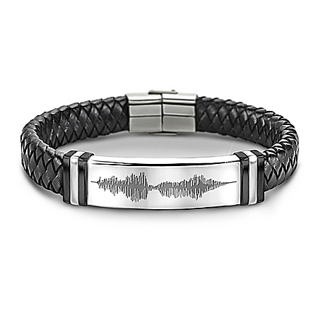 I Love You Sound Wave Design Leather Bracelet For Grandson
