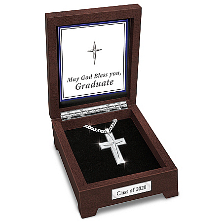 Blessed Graduate Men's Sapphire Cross Pendant Necklace