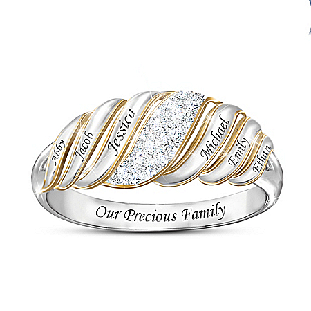 Our Precious Family Women's Personalized Ring Featuring Genuine Diamond Pave & Adorned With 18K Gold-Plated Accents – Personaliz