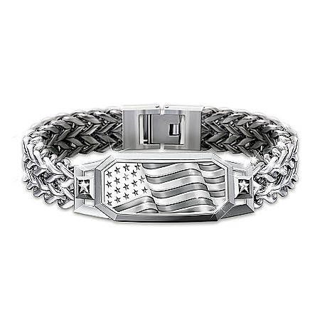 American Spirit Flex-Chain Bracelet With Etched Flag