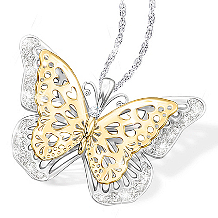 Granddaughter Butterfly Necklace With Fluttering Wings
