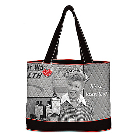 I LOVE LUCY Women's Quilted Tote Bag With Heart Charm