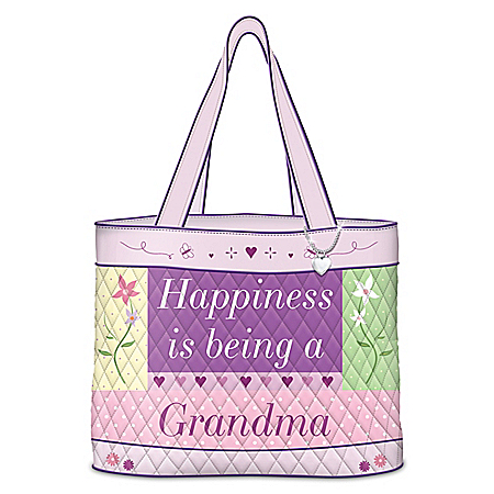 Happiness Is Being A Grandma Quilted Tote With Heart Charm