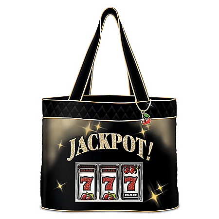 Jackpot! Women's Quilted Tote Bag With Cherry Charm