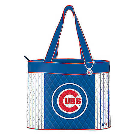 Chicago Cubs Quilted Tote Bag With Logo Charm
