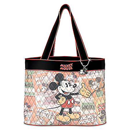 Mickey Mouse Classic Moments Quilted Tote With Profile Charm
