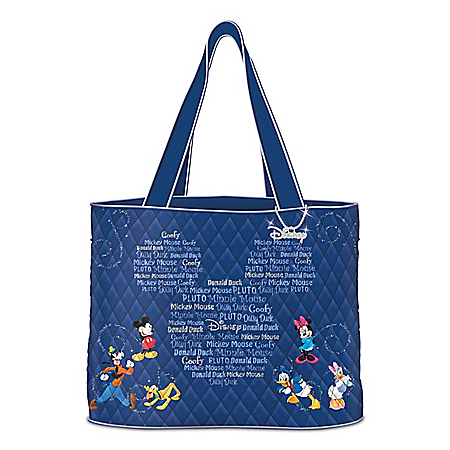 Forever Disney Friends Quilted Tote Bag With Hanging Charm