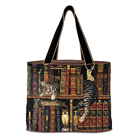 Charles Wysocki Purrfect Tales Women's Quilted Tote Bag