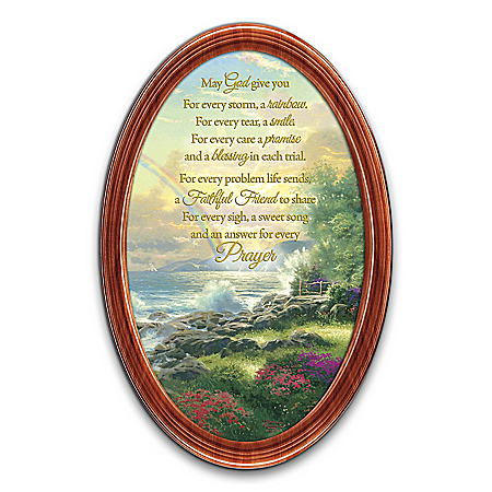 Thomas Kinkade God's Blessings Religious Oval-Shaped Collector Plate