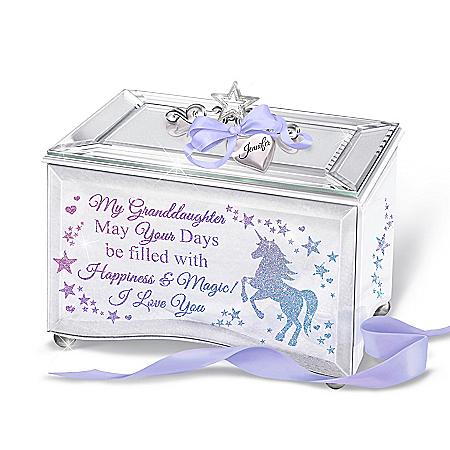 Glitter Unicorn Music Box Personalized For Granddaughter