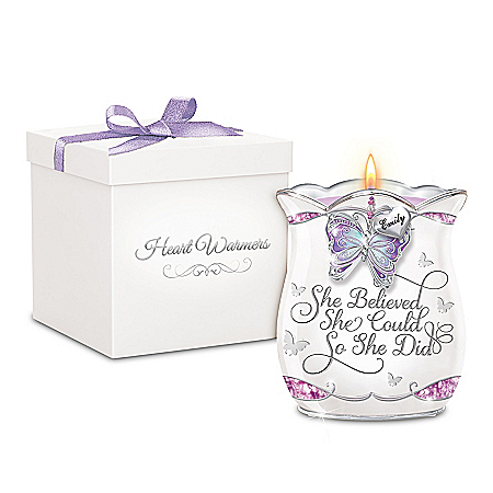 She Believed She Could Personalized Porcelain Candleholder