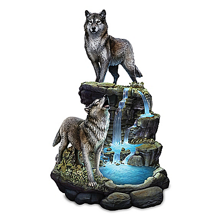 Al Agnew Majestic Encounter Illuminated Wolf Sculpture