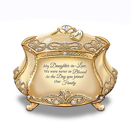 My Dearest Daughter-In-Law Music Box And Name-Engraved Charm