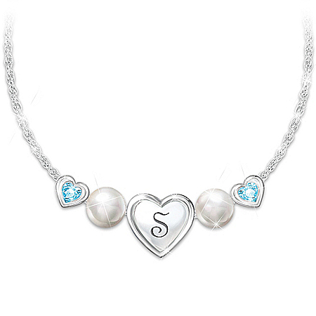 My Special Treasure Personalized Birthstone Necklace With A Heart-Shaped Pendant & An Engraved Initial Adorned With 2 Cultured F