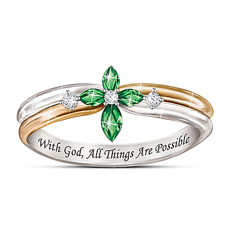 Faith Within Women's Ring Featuring 4 Personalized Crystal Birthstones In The Shape Of A Cross & Adorned With 3 Diamonds Represe