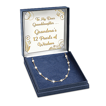 Grandma's 12 Pearls Of Wisdom Personalized Sterling Silver Necklace Featuring 18K Gold Plating With 12 Genuine Cultured Freshwat