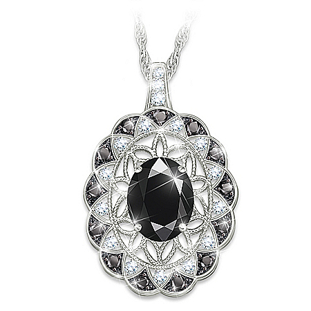 Italian Lace Black Spinel And Diamond Pendant Necklace