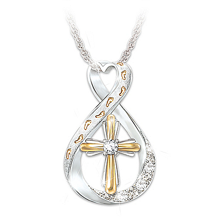 Footprints In The Sand Diamond Infinity Pendant Necklace