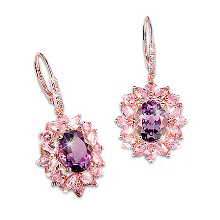 18K Rose Gold-Plated Earrings With Over 4 Carats Of Amethyst