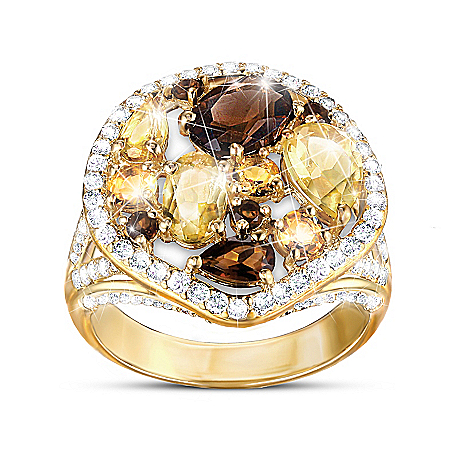 Golden Luster Women's Gemstone Ring Featuring 18K-Gold Plating