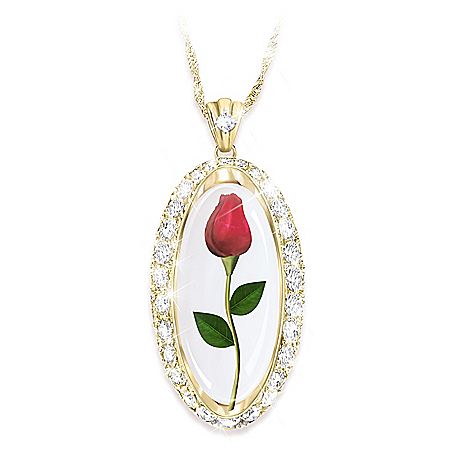 Forever Rose Of Love Women's Personalized 18K Gold-Plated Pendant Necklace Featuring A Real Preserved Rosebud & Adorned With 20