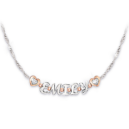 My Sweet Granddaughter Personalized Name Necklace Featuring 18K Rose Gold-Plated Accents & A Double-Sided Heart-Shaped Charm – P