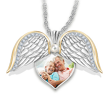 Always In My Heart Women's Personalized Photo Upload Heart-Shaped Pendant Necklace Featuring A Locket Design With Swinging Angel