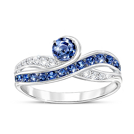 Serene Beauty 2-Carat Blue And White Sapphire Ring