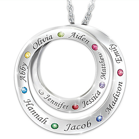 Family For Always Women's Personalized Birthstone Pendant Necklace Featuring Never-Ending Loop Design – Personalized Jewelry