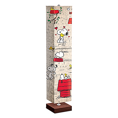PEANUTS Floor Lamp With Art On 4-Sided Fabric Shade