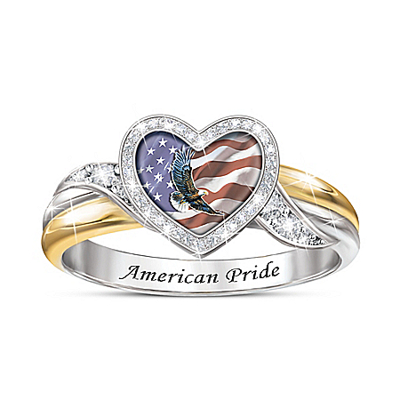 American Pride Diamonesk Ring With Eagle And Flag Art