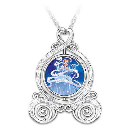 Disney Cinderella Dreams Come True Spinning Pendant Necklace