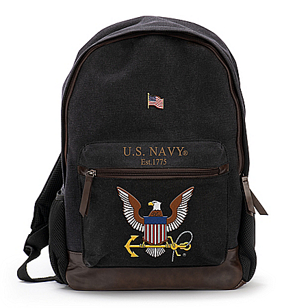 U.S. Navy Canvas Backpack With Free American Flag Pin