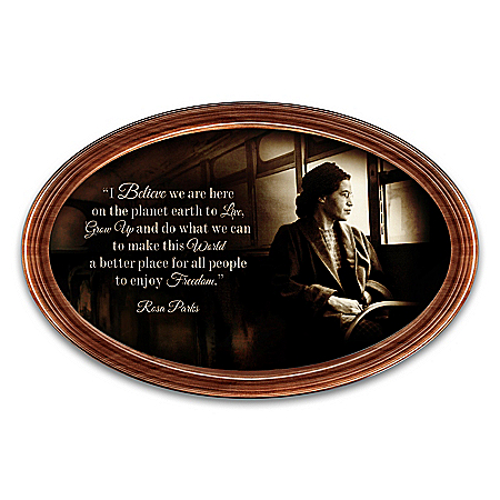 Rosa Parks Tribute Framed Plate With Inspirational Quote