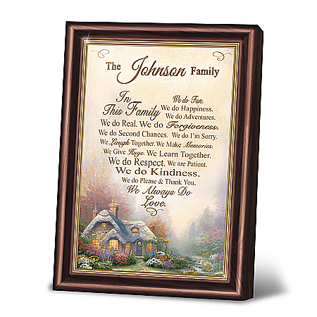 Thomas Kinkade Family Rules Personalized Framed Poem