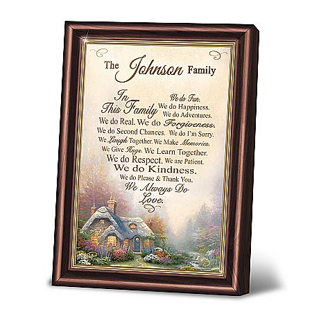 Thomas Kinkade Family Rules Personalized Framed Poem