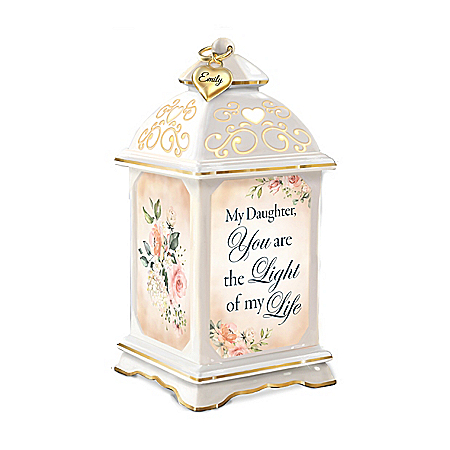Personalized Daughter Musical Porcelain Lantern Lights Up