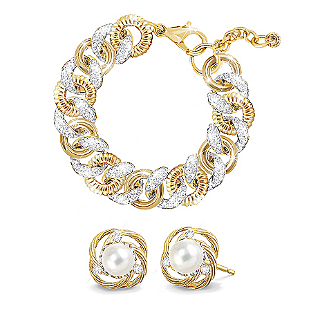 Jackie Kennedy-Inspired Diamonesk Bracelet And Earrings Set
