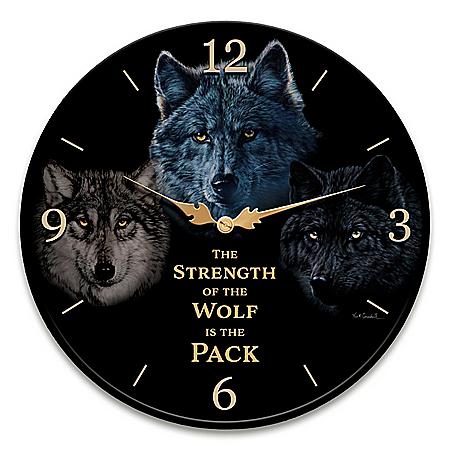 Vivi Crandall Strength Of The Pack Wolf Art Wall Clock