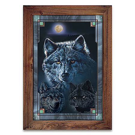 Illuminated Vivi Crandall Wolf Art Stained Glass Wall Decor