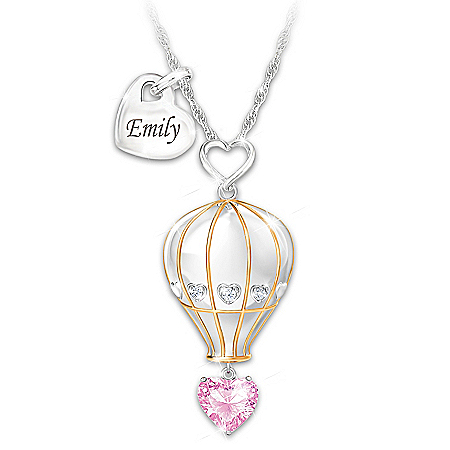 Granddaughter, Believe In Your Dreams Personalized Hot Air Balloon Pendant Necklace With 18K Gold-Plated Accents & A Heart-Shape