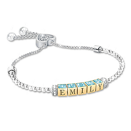 My Beautiful Granddaughter Stainless Steel Personalized Birthstone Bolo-Style Bracelet Featuring 18K Gold-Plated Letter Blocks T