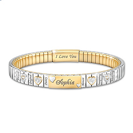 I Love You, My Granddaughter Stainless Steel Personalized Stretch-Style Bracelet With Swarovski Crystals & 24K Gold Ion-Plated A